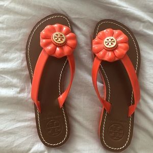 Gently used Tory Burch orange sandals